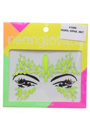 Neon Green Face/ Body Jewels/ Tattoo Butterfly Design