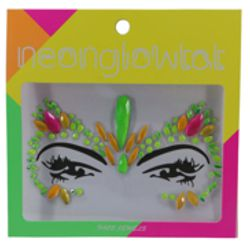 Multi Neon Color Face/ Body Jewels/ Tattoo
