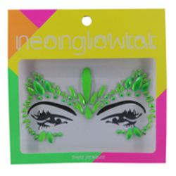 Green Neon Color Face/ Body Jewels/ Tattoo