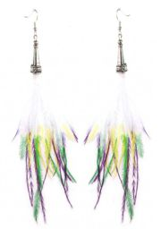 Mardi Gras Top Feather Silver Hook Earrings