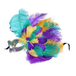 Mardi Gras Feather Eye Mask with Flower Design on the Side