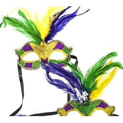 9in Tall x 6 1/4in Wide Mardi Gras Venetian Feather Mask with Glitter