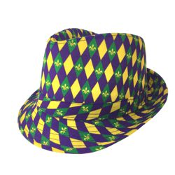 Mardi Gras Fedora Hat with Diamond Design with Fluer de Lis Accents