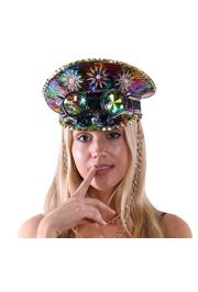 Festival/ Mardi Gras Hat with Goggles and Decorative Gold Chain