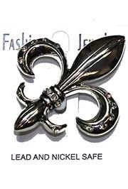 Metallic Silver Rhinestone Fleur de Lis Brooch / Pin