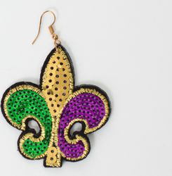 3.5in Tall x 3.5in Wide Sequin Mardi Gras Earring with Fleur de Lis Design