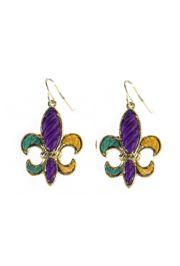 Mardi Gras Stripe Pattern Silver Fleur De Lis Earrings