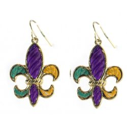 Mardi Gras Stripe Pattern Silver Fleur De Lis Earrings