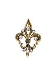 Gold Rhinestone Fleur de Lis Brooch / Pin