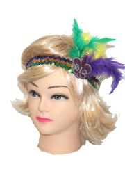 Mardi Gras Sequin Headband w/ Purple/ Green/ Gold Feathers w/ Fleur de Lis Design