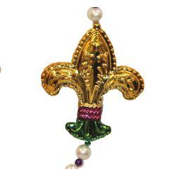 42in Long Mardi Gras Necklace with 4 Fleur de Lis medallions