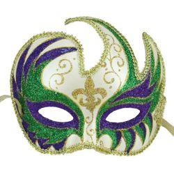 6.75in Long x 6in Wide Glitter Mardi Gras Masquerade Mask w/ Fleur de Lis Design