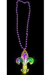 LED Flashing/ Light-up 3D Mardi Gras Fleur De Lis Necklace