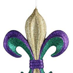 8in Glitter Mardi Gras Fleur de Lis Handing Ornament/ Decoration