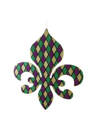 18in Tall x 16in Wide Foam Purple/ Green/ Gold Glitter Fleur de Lis Decoration