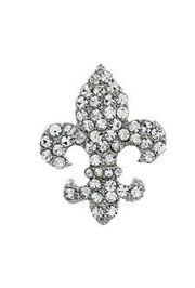 Rhinestone Silver Fleur de Lis Brooch / Pin