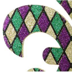 18in Tall x 16in Wide Foam Purple/ Green/ Gold Glitter Fleur de Lis Decoration