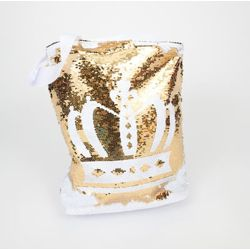 White/ Gold Flip Sequin Tote/Bag with Crown Design