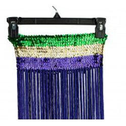 Mardi Gras Sequin Band Flapper Skirt with Fringe Tricolor