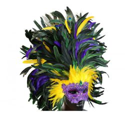 Mardi Gras Venetian Marcrame Feather Mask