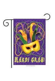 12.5in x 18in Mardi Gras Garden Flag w/ Jester Mask Design