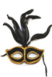 Black and Gold Feather Felt Mask