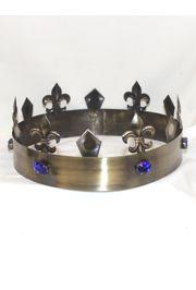 Gold King Crown w/ Fleur de lis design and blue rhinestones