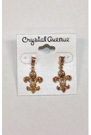 Gold Rhinestone Fleur de lis Earrings