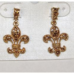 Gold Rhinestone Fleur de lis Earrings