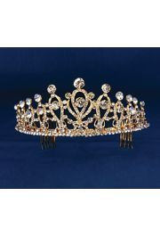 2.25in Tall Gold Rhinestone Tiara w/ Pearl Accents