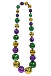 54in 30-60mm Mardi Gras Big Beads Disco Ball Necklace