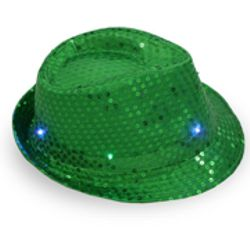 Green Sequin Light Up Fedora Hat