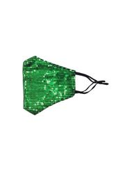 Green Sequin Protective Face Masks