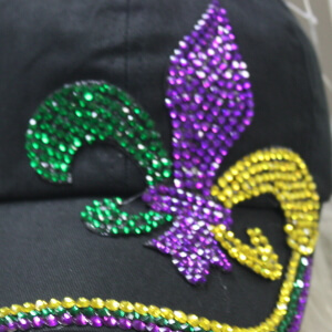 Mardi Gras Baseball Cap w/Fleur-de-lis Design