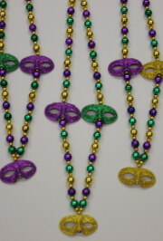 40in Long 12mm Mardi Gras Necklace/bead with 3 Mask