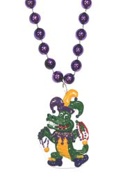40in Long Mardi Gras Necklace with Jester Alligator Medallion