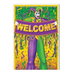 30in Wide x 5ft Long Mardi Gras Door Cover/ Curtain with Jester Design