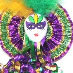 18in Long Mardi Gras Jester Face Wand
