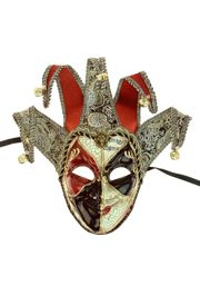 16in Wide x 18 1/2in Tall Venetian Male Red/ Black Jester Mask