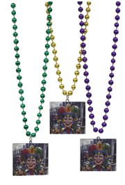 36in 12mm Round Metallic Purple/ Green/ Gold Necklace with 3D Jester/Clown Medallion