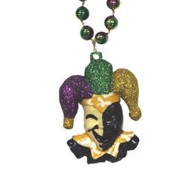 36in 10mm Mardi Gras Tri-color Necklace with Jester medallion