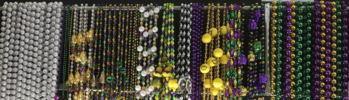Assorted Mardi Gras beads for Carnival parade krewes