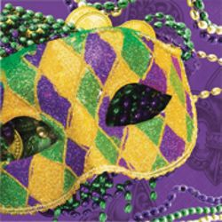 7in x 7in Mardi Gras Luncheon Napkins with Mask Design