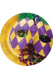 7in Mardi Gras Luncheon Plates with Mask Design