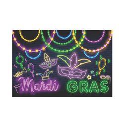 6ft x 9ft Mardi Gras Glow Backdrop with Masks Design