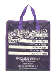 15in Height x 13 3/4in Length x 7 1/4in Width Medium Bag With Zipper w/ Mardi Gras dates Artwork