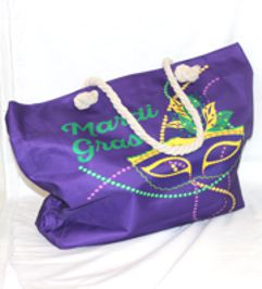 21in x 15in Purple Mardi Gras Tote Bag with Mask Design