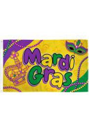 3ft x 5ft Mardi Gras Flag with Mardi Gras Beads design