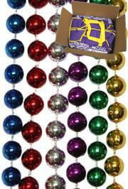 7mm 33in Round 6 Assorted Color Mardi Gras Beads with zipper bag