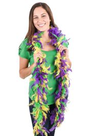 Mardi Gras Feather Boa In Purple, Green and Gold w/ Gold Tinsel